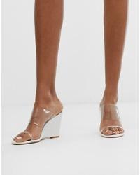 Sandalias con cuña de goma transparentes de Glamorous