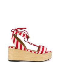 Sandalias con cuña en blanco y rojo de Sonia Rykiel