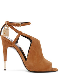 Sandalias de ante con recorte marrón claro de Tom Ford
