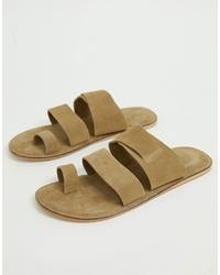 Sandalias de ante en beige de ASOS DESIGN