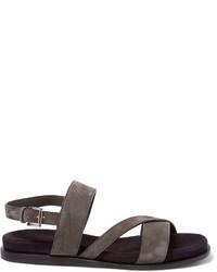 Sandalias de ante en gris oscuro de Brioni
