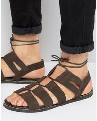 Sandalias de ante en marrón oscuro de Asos