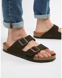 Sandalias de ante en marrón oscuro de Birkenstock