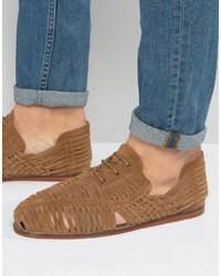 Sandalias de ante tejidas marrón claro de Asos