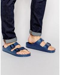 Sandalias de cuero azul marino de Birkenstock