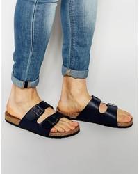 Sandalias de cuero azul marino de Brave Soul