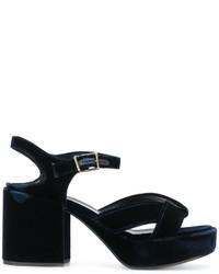 Sandalias de cuero azul marino de Jil Sander