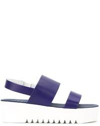 Sandalias de cuero azul marino de P.A.R.O.S.H.