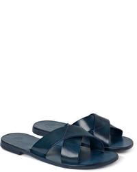 Sandalias de cuero azul marino