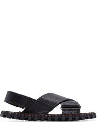 Sandalias de cuero azul marino de Valentino