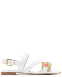 Sandalias de cuero blancas de Moschino