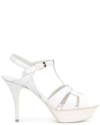 Sandalias de cuero blancas de Saint Laurent