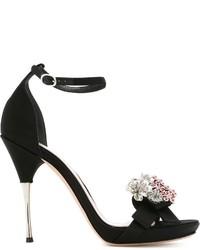 Sandalias de cuero con adornos negras de Alexander McQueen