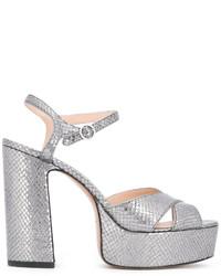 Sandalias de cuero con relieve grises de Marc Jacobs