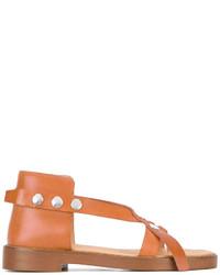 Sandalias de cuero con tachuelas en tabaco de MM6 MAISON MARGIELA