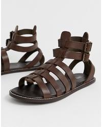 Sandalias de cuero en marrón oscuro de ASOS DESIGN