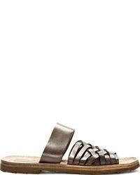 Sandalias de cuero en marrón oscuro de Dolce & Gabbana