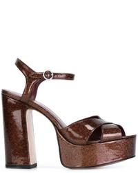 Sandalias de cuero en marrón oscuro de Marc Jacobs
