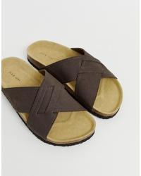 Sandalias de cuero en marrón oscuro de Pier One