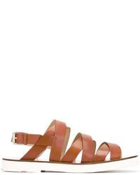 Sandalias de cuero en tabaco de Paul Smith