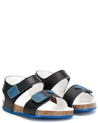 Sandalias de cuero en verde azulado de Armani Junior