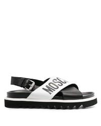 Sandalias de cuero estampadas en negro y blanco de Moschino