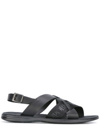 Sandalias de cuero estampadas negras de Emporio Armani