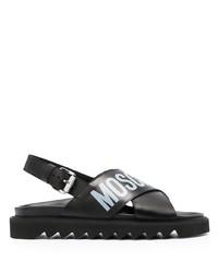 Sandalias de cuero estampadas negras de Moschino