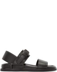 Sandalias de Cuero Gris Oscuro de Maison Margiela