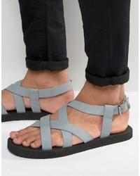 Sandalias de cuero grises de Asos