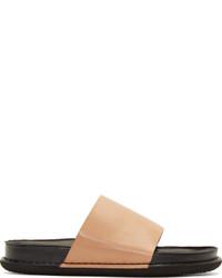 Sandalias de cuero marrón claro de Ann Demeulemeester