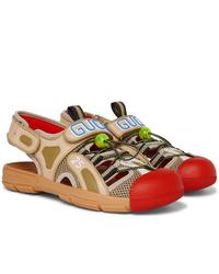 Sandalias de cuero marrón claro de Gucci