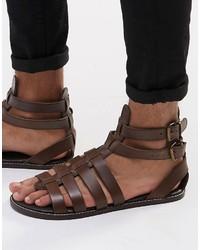 Sandalias de Cuero Marrón Oscuro de Asos
