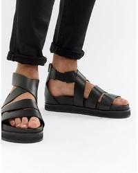 Sandalias de cuero negras de ASOS DESIGN