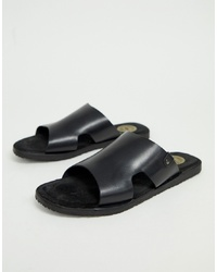 Sandalias de cuero negras de Base London