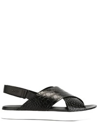 Sandalias de cuero negras de DKNY
