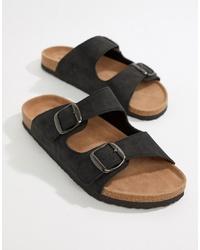 Sandalias de cuero negras de Dunlop
