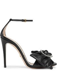 Sandalias de cuero negras de Gucci