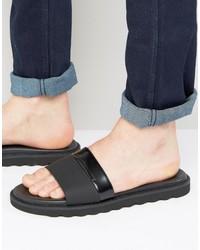 Sandalias de cuero negras de Hugo Boss