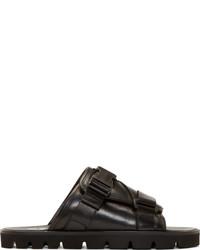 Sandalias de cuero negras de MSGM