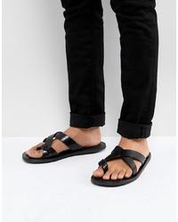 Sandalias de cuero negras de Pier One