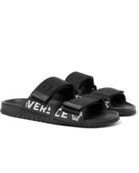 Sandalias de cuero negras de Versace
