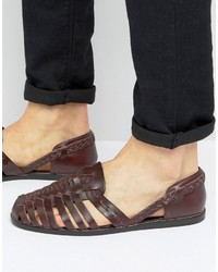 Sandalias de cuero tejidas burdeos de Asos