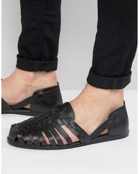 Sandalias de cuero tejidas negras de Asos