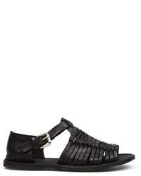 Sandalias de cuero tejidas negras de Officine Creative