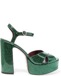 Sandalias de cuero verde oscuro de Marc Jacobs