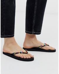 Sandalias de dedo de cuero con adornos negras de Accessorize
