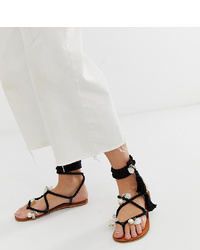 Sandalias de dedo de cuero con adornos negras de ASOS DESIGN