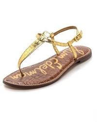 Sandalias de dedo de cuero doradas de Sam Edelman