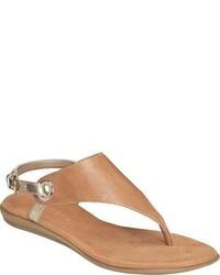 Sandalias de dedo de cuero marrón claro